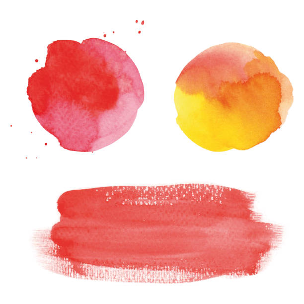 Round red watercolor spots and banner vector art illustration