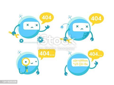istock Round robot broken. Repairs service. Page not found error 404. Critical error. Support service-center repair. Vector flat illustration set. 1341835336