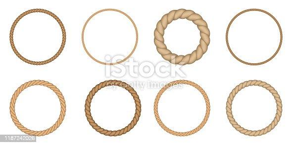Round rope borders set. Circle vintage frames. Vector design elements