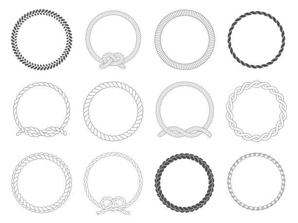 stockillustraties, clipart, cartoons en iconen met ronde touw frame. cirkel van touwen, afgeronde rand en decoratieve mariene kabel kaderset cirkels geïsoleerde vector - touw