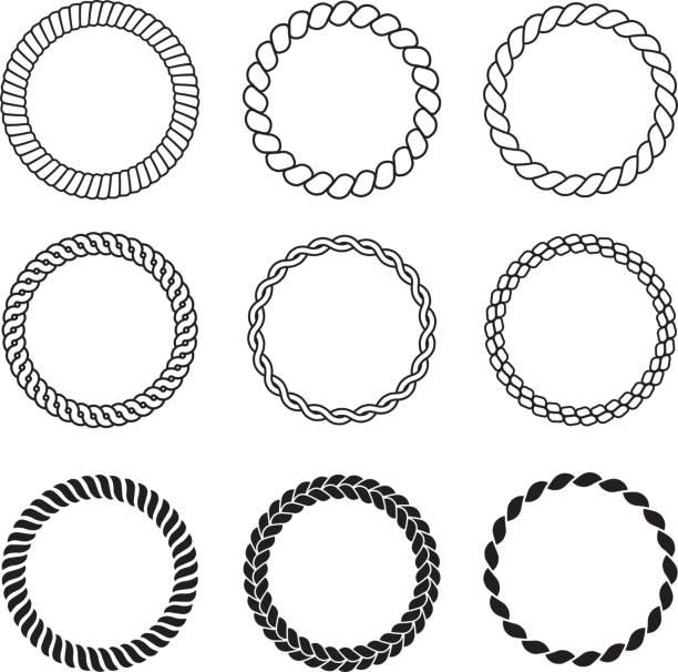 ラウンドロープフレーム。ケーブルサークル形状強度装飾ヴィンテージロープベクトルコレクション - 編む点のイラスト素材/クリップアート素材/マンガ素材/アイコン素材