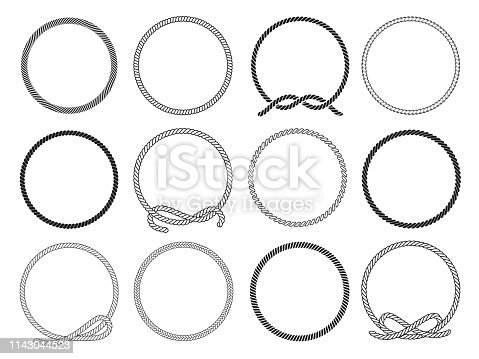 Round rope set, twisted round pattern for decoration. Collection of loops. Vector flat style cartoon illustration isolated on white background