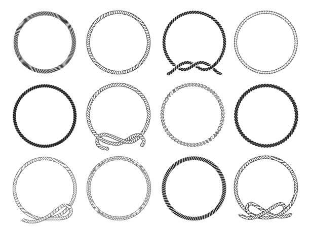 stockillustraties, clipart, cartoons en iconen met ronde touw set, gedraaid rond patroon voor decoratie - touw