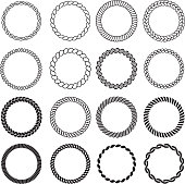 Round rope shapes. Circle nautical frame for labels decorative sea knot border vector design template. Illustration rope circle frame, cord round marine, cable twisted