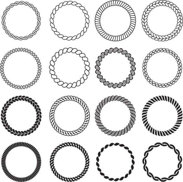 丸いロープの形。ラベル装飾海結びボーダーベクトルデザインテンプレートのための円海枠 - 編む点のイラスト素材/クリップアート素材/マンガ素材/アイコン素材
