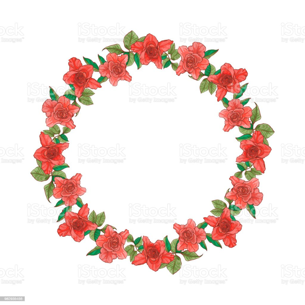 Runde Rose Rahmen Für Grußkarte Oder Text Vektorillustration Stock ...