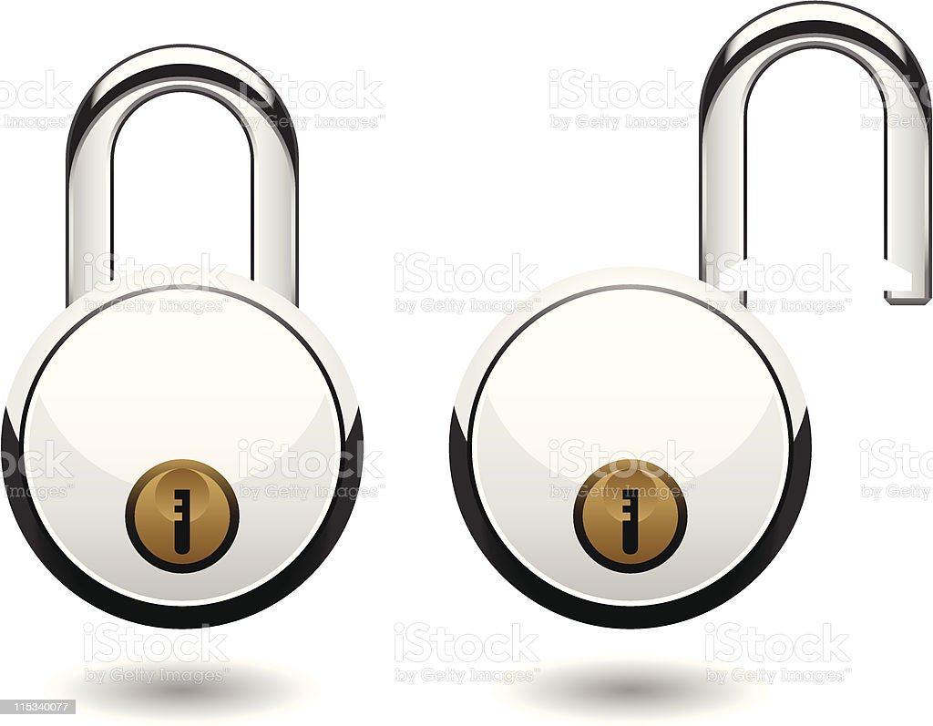 Round Security Pad Lock Vector royalty-free round security pad lock vector stock vector art & more images of brass band