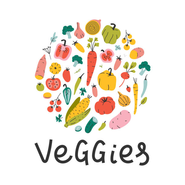 Round shape collection of hand drawn cartoon style vegetables. Bundle of cute vector illustrations isolated on white background. Healthy diet banner Round shape collection of hand drawn cartoon style vegetables. Bundle of cute vector illustrations isolated on white background. Healthy diet banner template for farming market fair with lettering agricultural fair stock illustrations