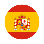 Round shape flag of Spain with the coat of arms in flat style, Spanish language icon for app and web, vector illustration isolated on white background