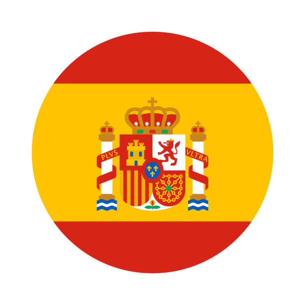 Round shape flag of Spain Round shape flag of Spain with the coat of arms in flat style, Spanish language icon for app and web, vector illustration isolated on white background national flag illustrations stock illustrations