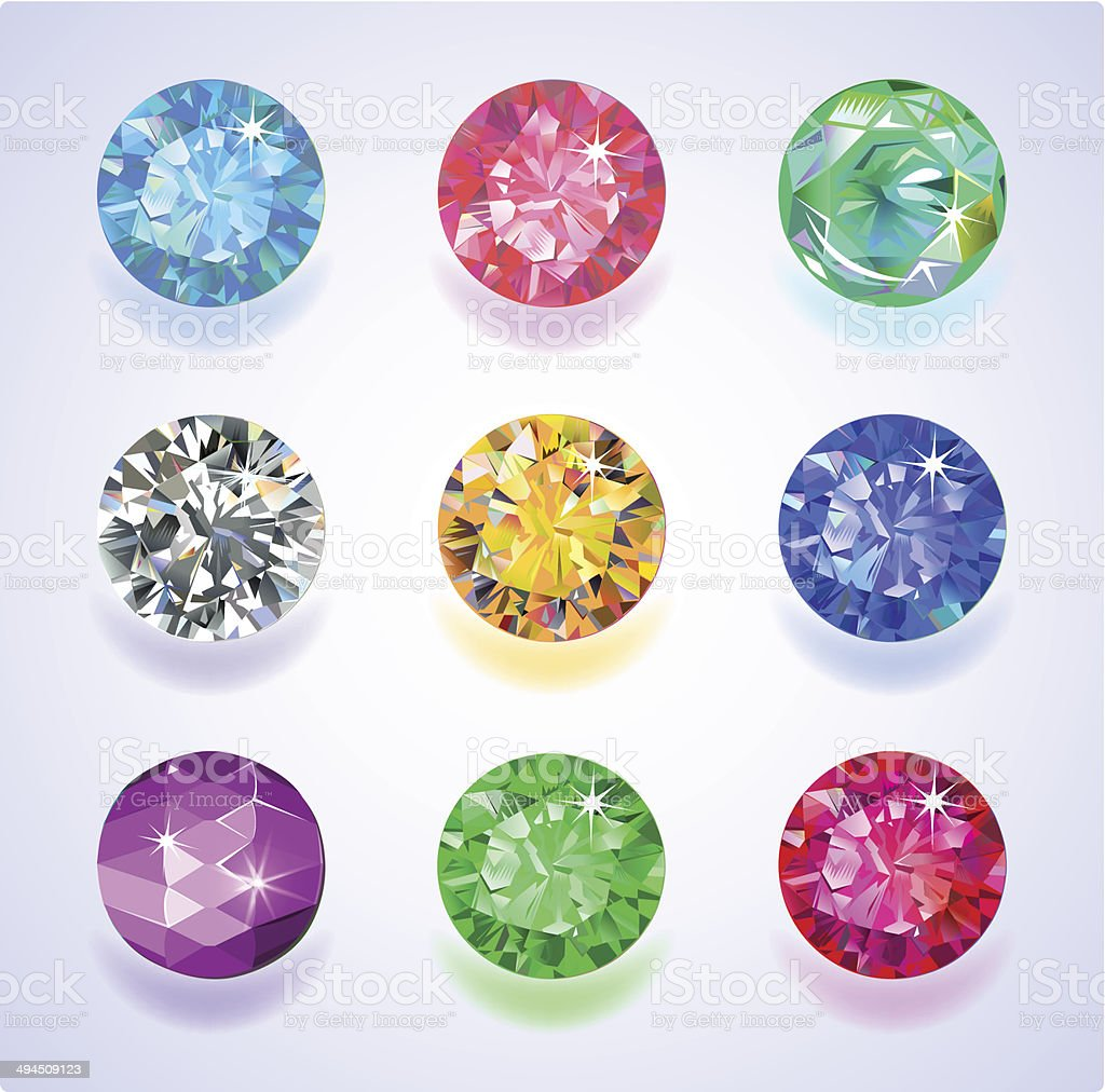 Round shape top view colored gems vector art illustration