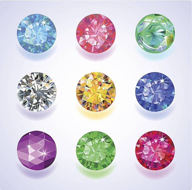 runde form oben anzeigen farbige edelsteine - modeschmuck stock-grafiken, -clipart, -cartoons und -symbole