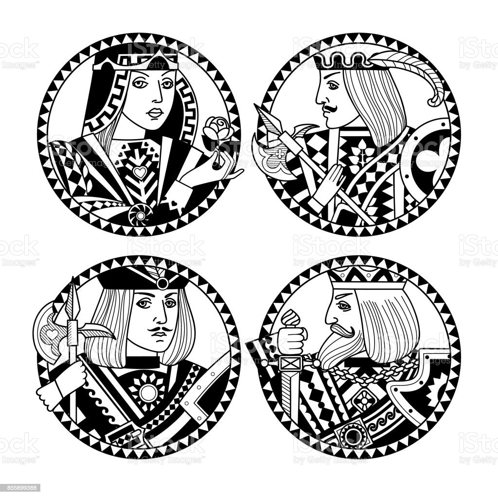 Round shapes with faces of playing cards characters in black and white colors vector art illustration