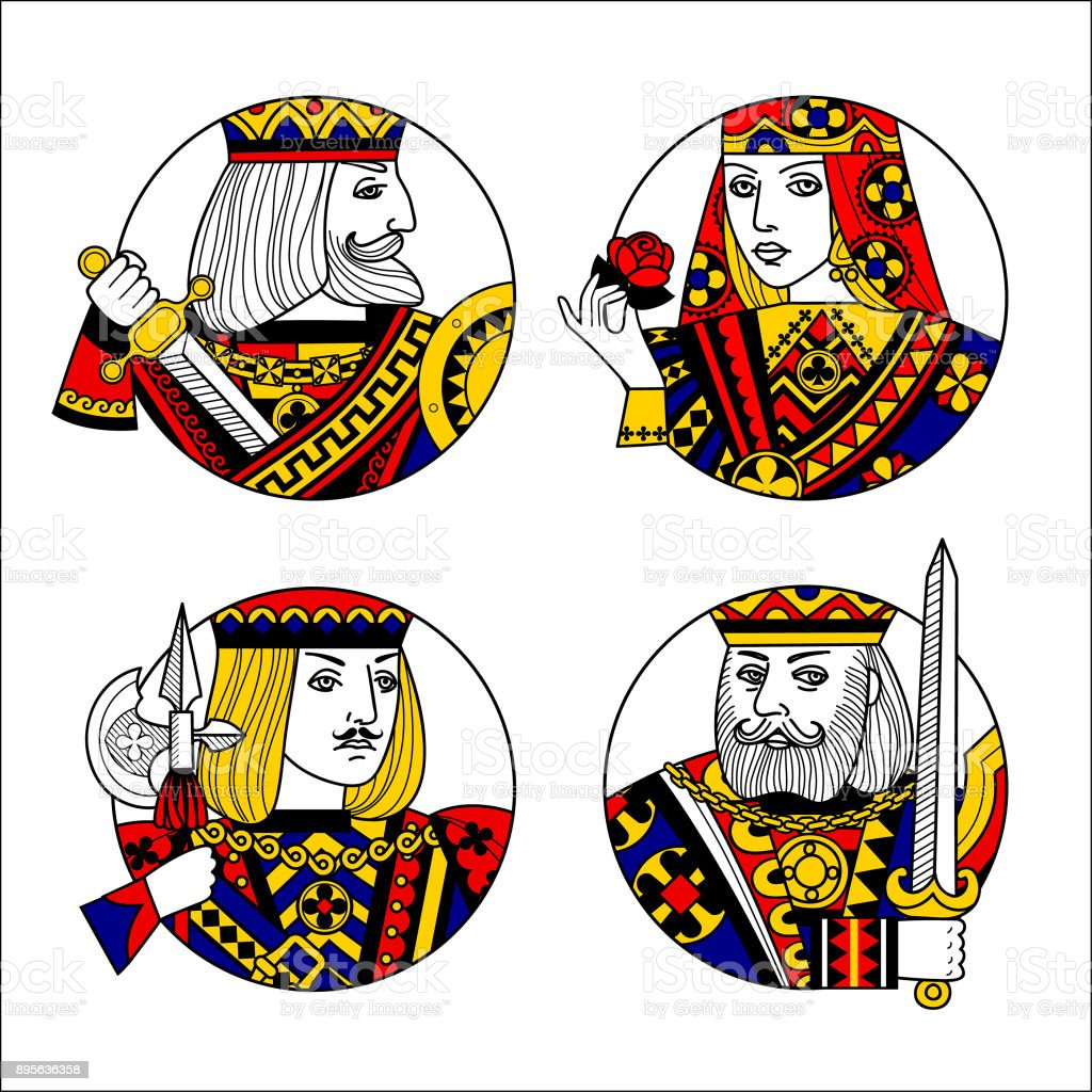 Round shapes with faces of playing cards characters vector art illustration