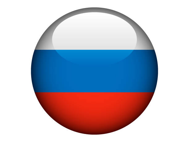round shiny flag of russia - russian flag stock illustrations, clip art, cartoons, & icons