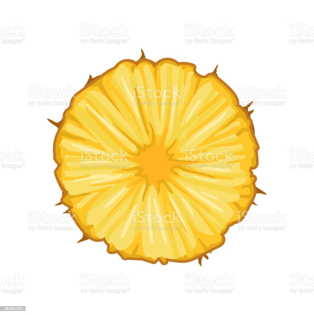 Round slice of juicy pineapple. Delicious tropical fruit. Detailed flat vector design for juice packaging, promo flyer or poster royalty-free round slice of juicy pineapple delicious tropical fruit detailed flat vector design for juice packaging promo flyer or poster stock illustration - download image now