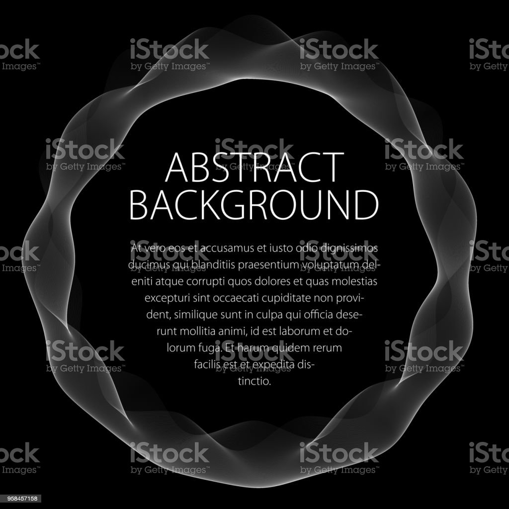 Round smooth linear frame of wavy lines. Vector abstract artistic beautiful background with copy space for text.  Isolated over black background. vector art illustration