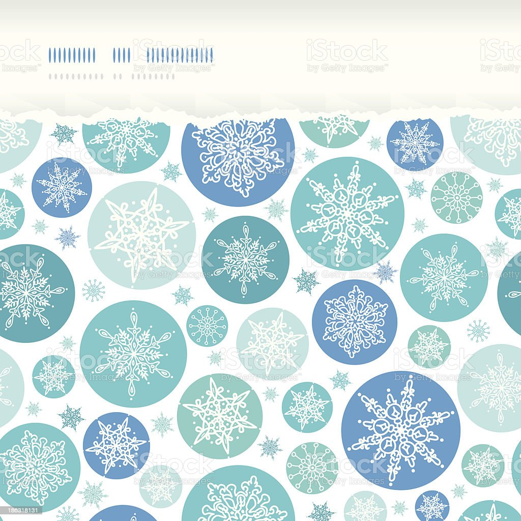 Round Snowflakes Horizontal Torn Seamless Pattern Background royalty-free stock vector art