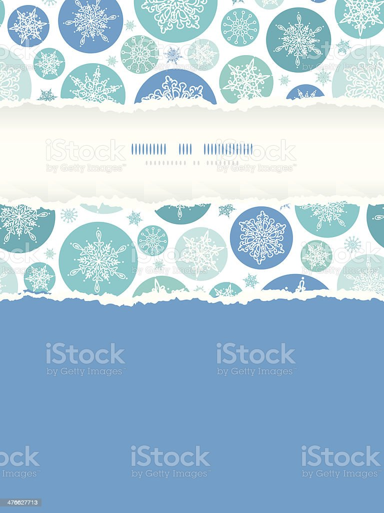 Round Snowflakes Vertical Torn Frame Seamless Pattern Background royalty-free stock vector art