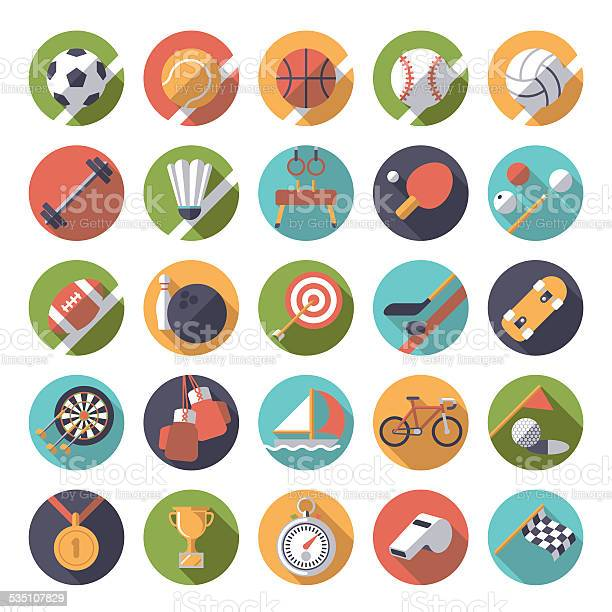 Round Sports Icons Flat Design Vector Set Stock Illustration - Download Image Now