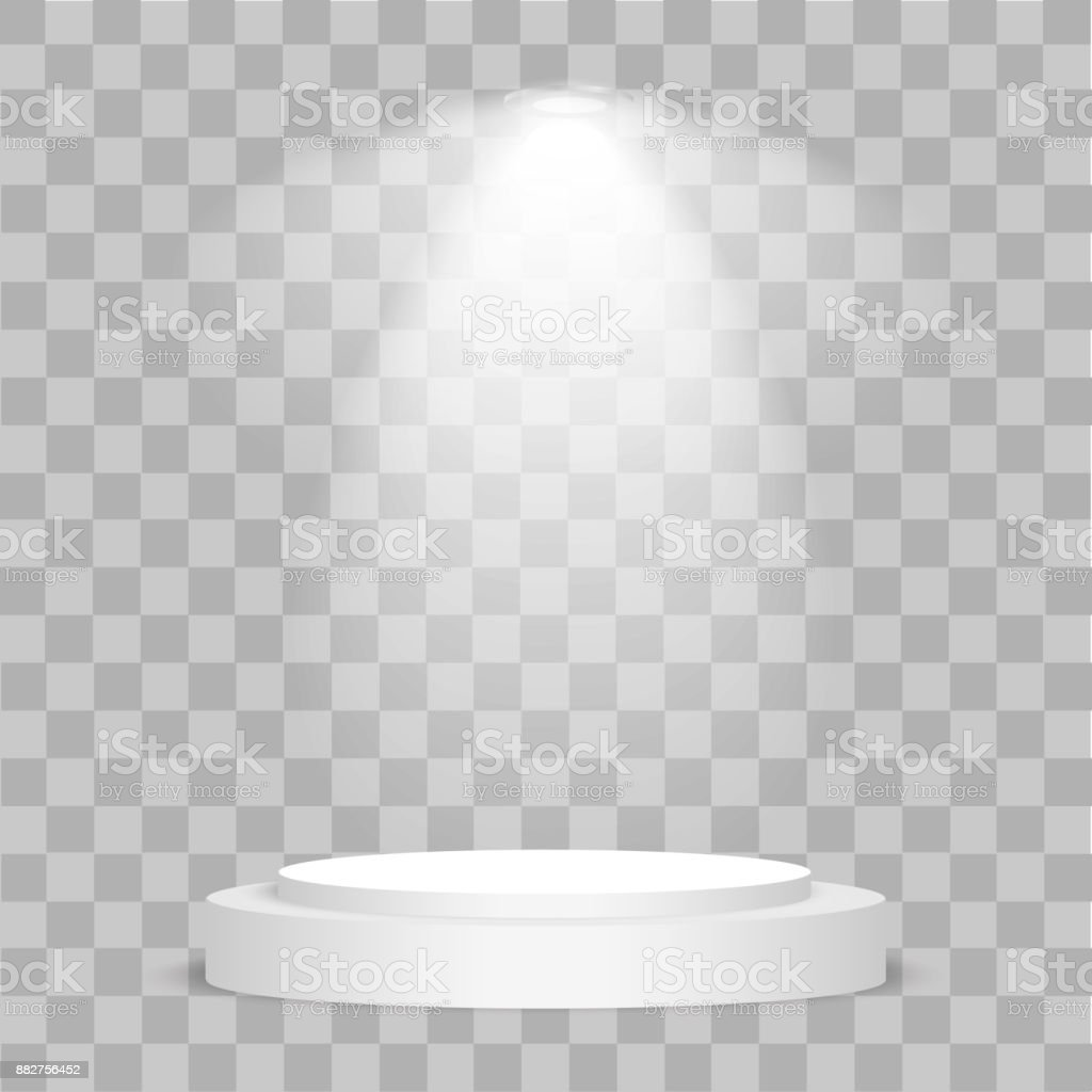 Round stage podium illuminated with light on transparent background. Stage vector backdrop. Festive podium scene with red carpet for award ceremony. Vector illustration. vector art illustration