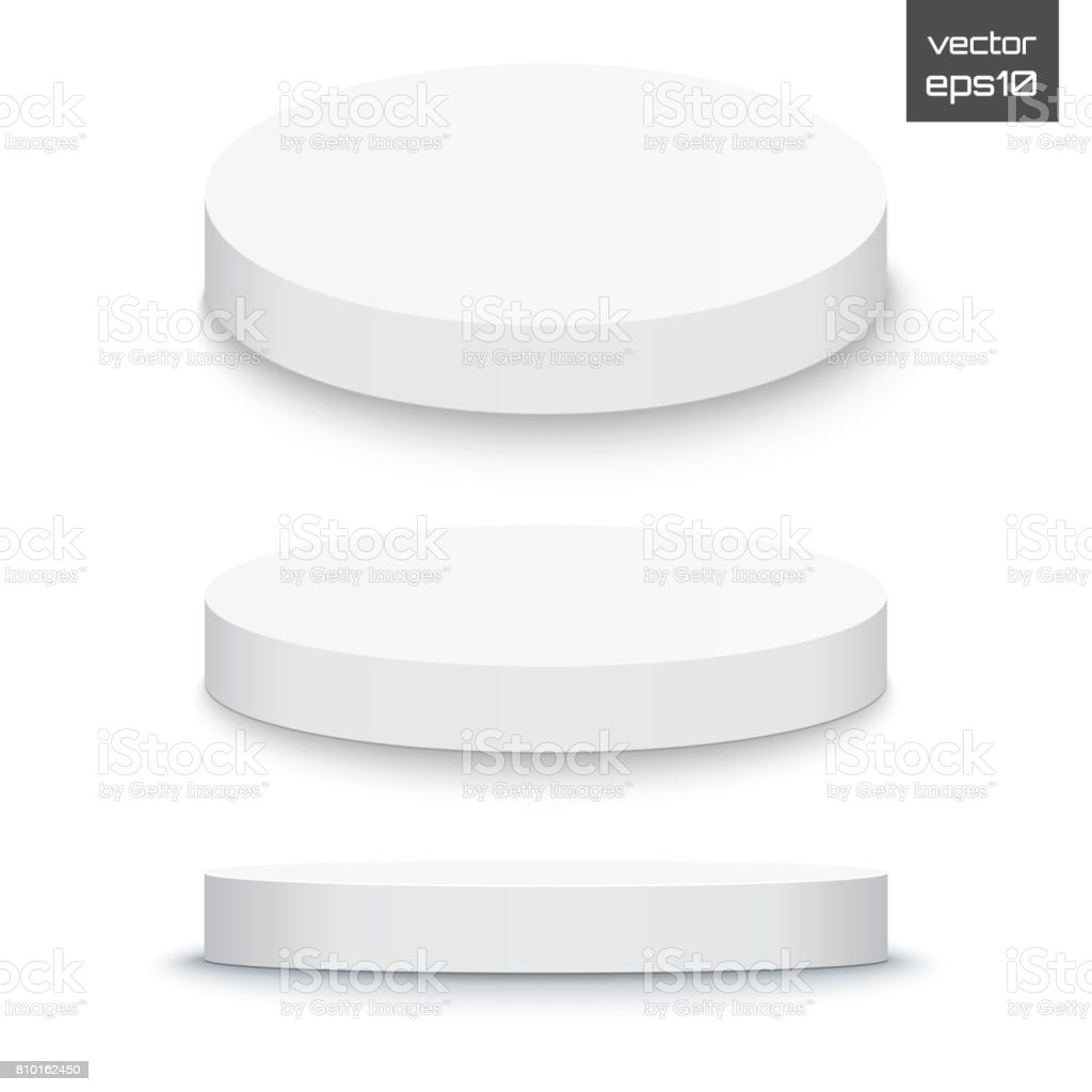 Round stage podium isolated on white background. 3d Pedestal. Vector