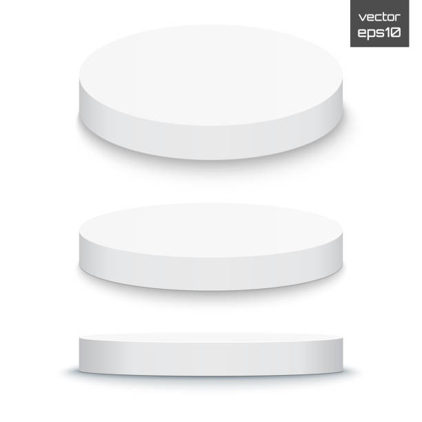 runde bühne podium isoliert auf weißem hintergrund. 3d sockel. vektor - zylinder stock-grafiken, -clipart, -cartoons und -symbole
