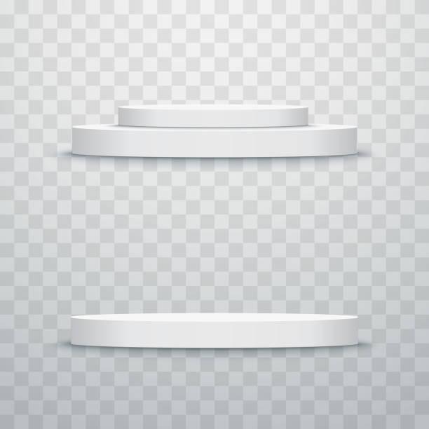 round stage podium isolated. vector illustration. - ausstellungstische stock-grafiken, -clipart, -cartoons und -symbole