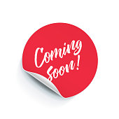 Round sticker tag with peel fold corner. Vector Coming Soon poster, isolated pink red round adhesive note