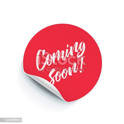 istock Round sticker tag with peel fold corner. Vector Coming Soon poster, isolated pink red round adhesive note 1135099844