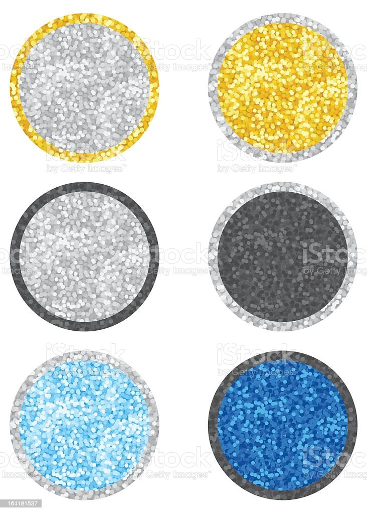 Round stickers in glitter of various colors royalty-free stock vector art