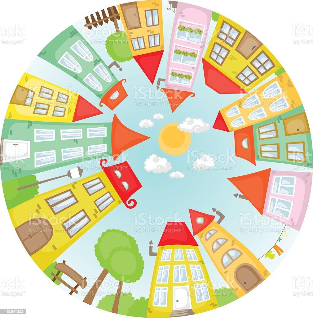 Round street vector art illustration