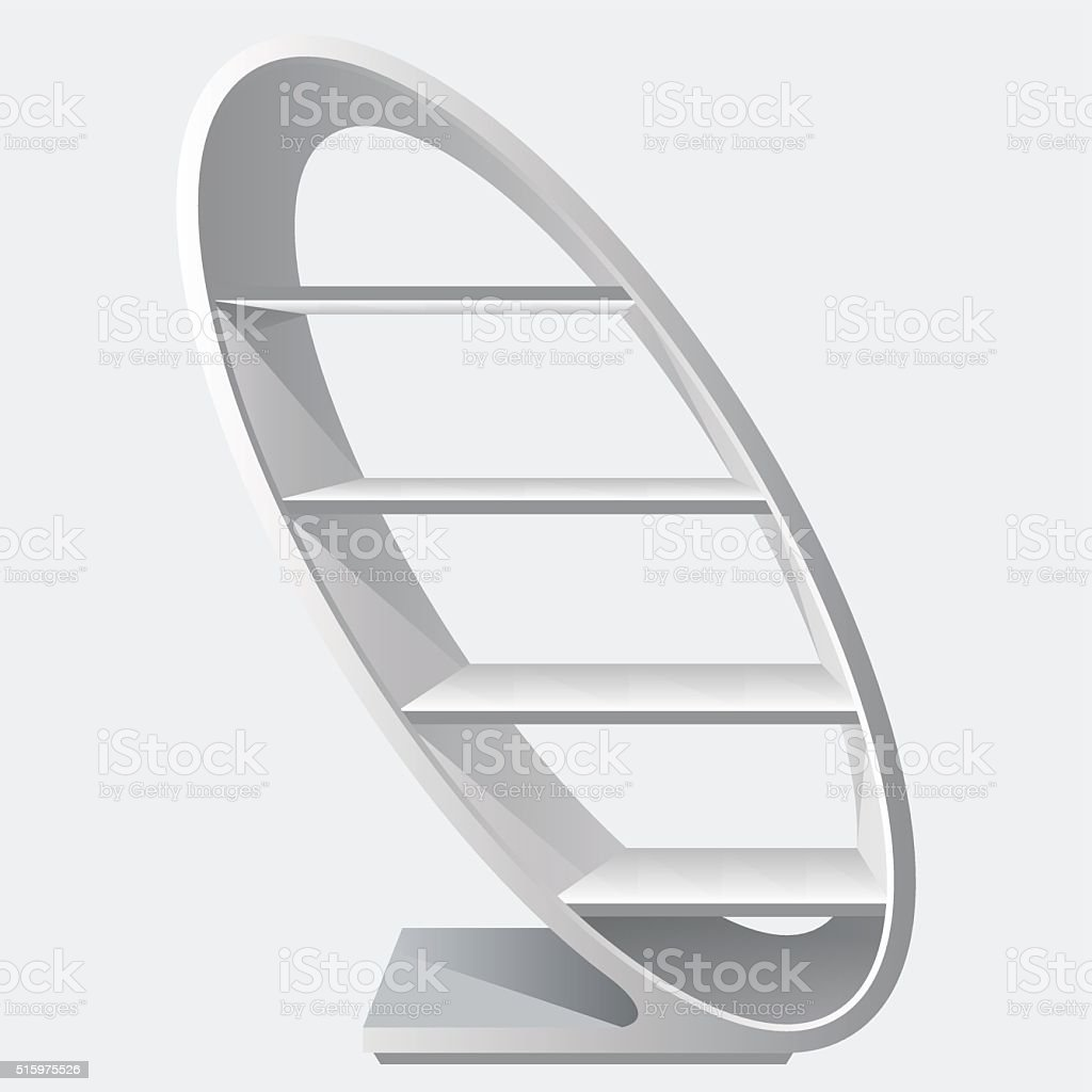 Round style cretive blank empty display shelf with racks. vector art illustration