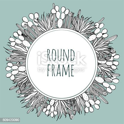 Round frame set of vintage black white succulent cactus border. Space for text. Greeting card, banner, textile, vector illustration