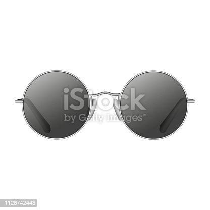 Round sunglasses front view isolated vector
