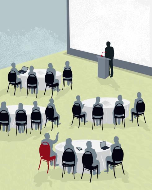ilustraciones, imágenes clip art, dibujos animados e iconos de stock de mesa redonda para conferencias con altavoz - reunión evento social