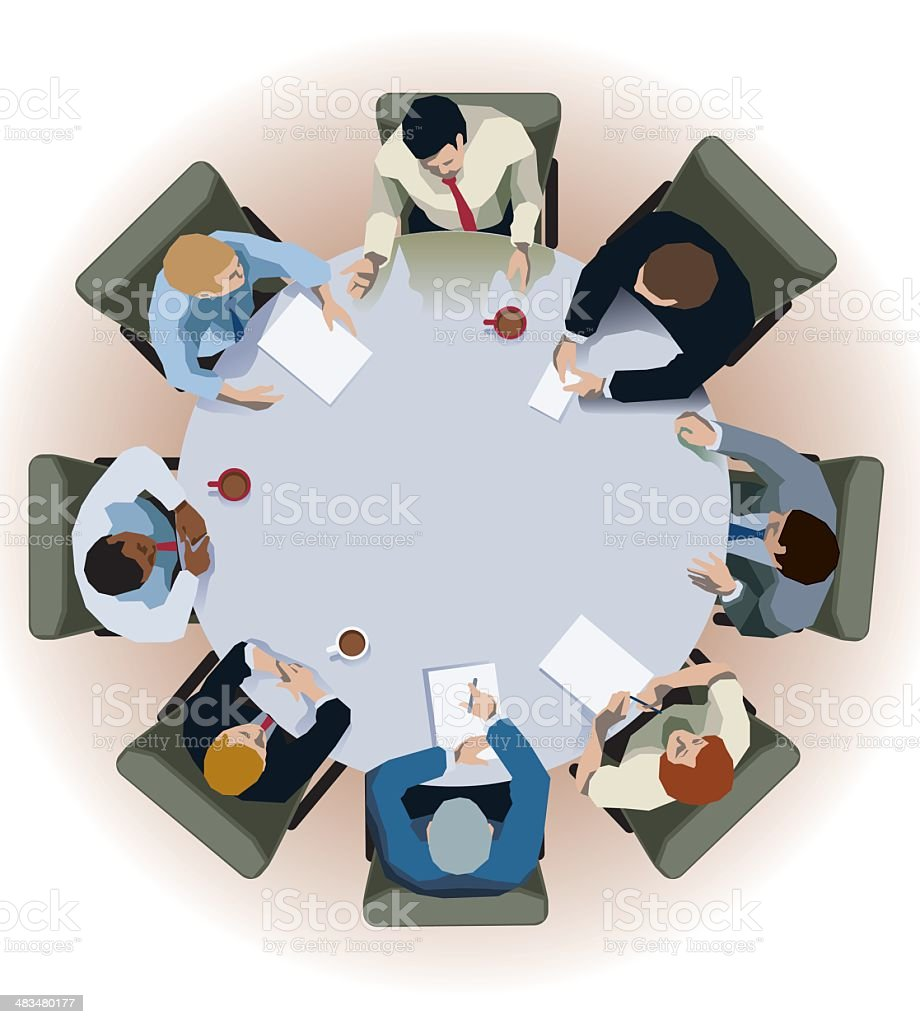 Round table interview vector art illustration