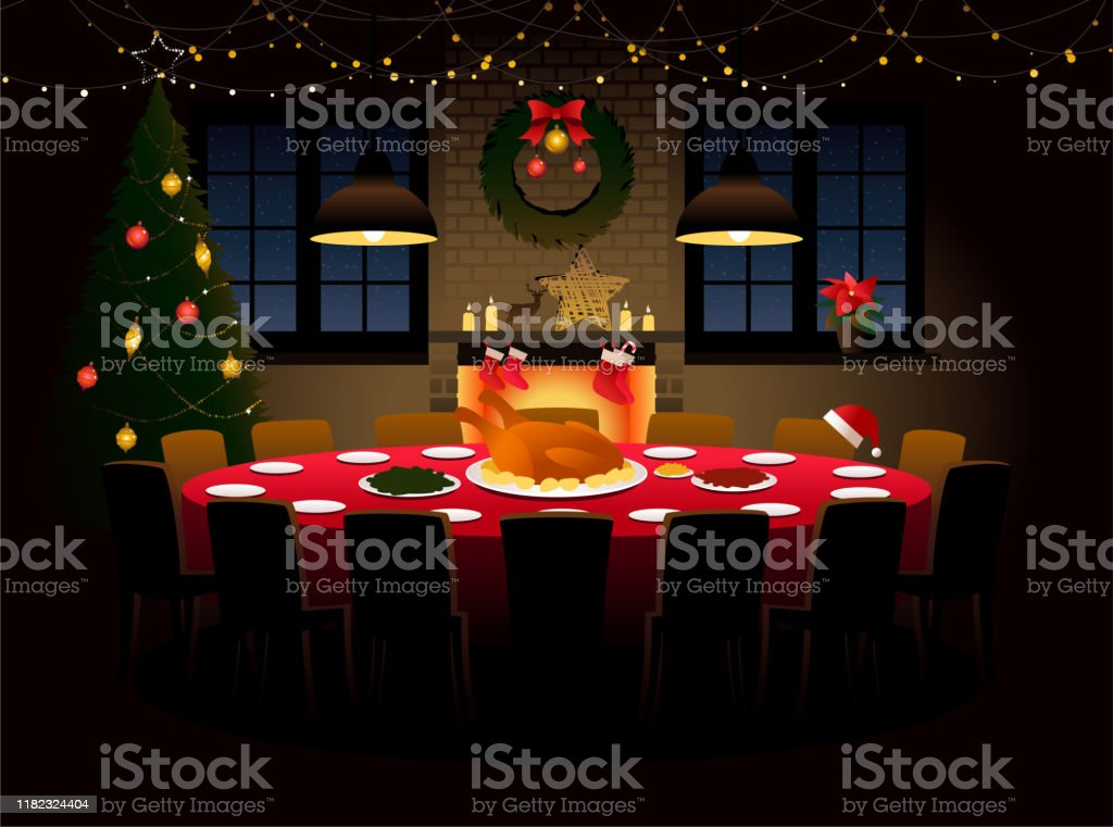 Round table with Christmas dinner - arte vettoriale royalty-free di Accogliente