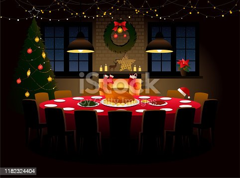 istock Round table with Christmas dinner 1182324404