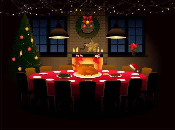 illustrazioni stock, clip art, cartoni animati e icone di tendenza di round table with christmas dinner - christmas table