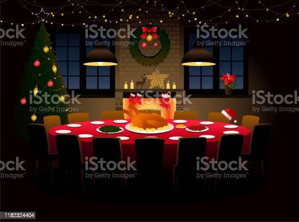 Round Table With Christmas Dinner - Immagini vettoriali stock e altre immagini di Accogliente
