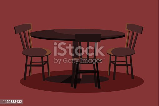 Round table with three chairs flat vector illustration. Empty wooden desk with stools.  Restaurant furniture. Brown dining table. Cartoon cafe interior. One leg kitchen table. Eating place design