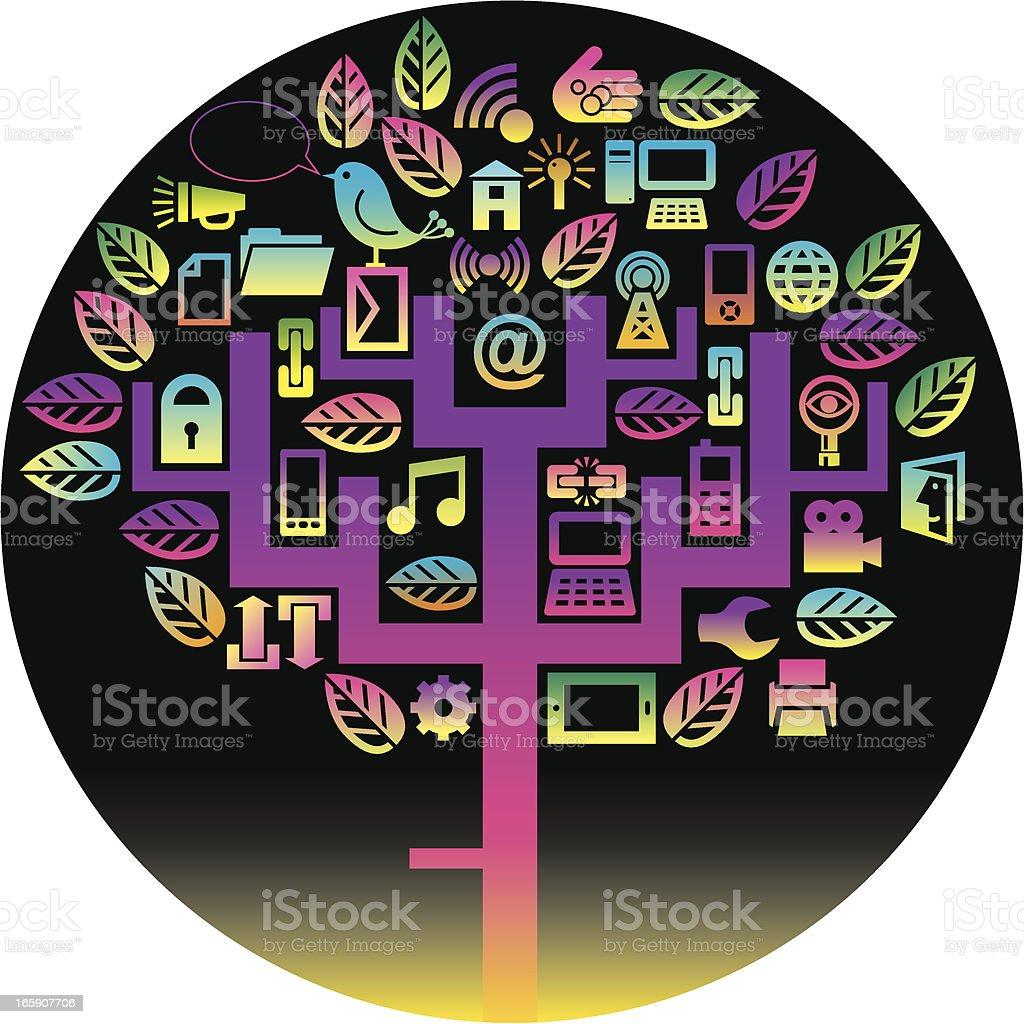 Round technology tree royalty-free stock vector art
