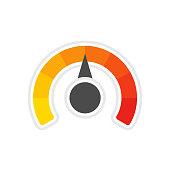 Round temperature gauge.