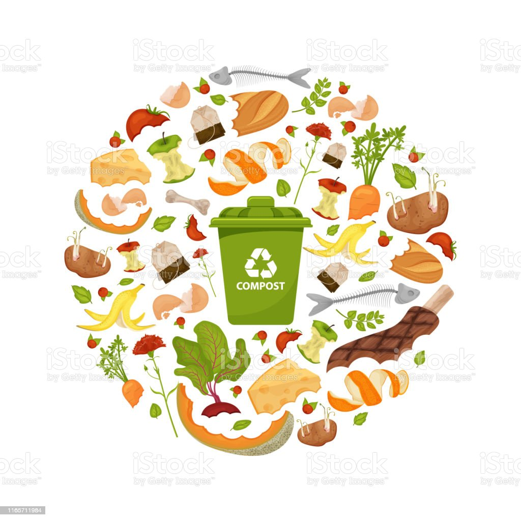 Round template Organic waste theme Round template Organic waste theme. Collection of fruits and vegetables. Illustration for home food processing and compost, organic waste, zero waste, environmental problem. Flat icons, vector design. Apple Core stock vector