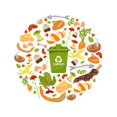 Round template Organic waste theme. Collection of fruits and vegetables. Illustration for home food processing and compost, organic waste, zero waste, environmental problem. Flat icons, vector design.