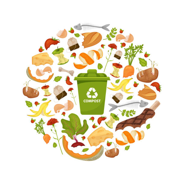Round template Organic waste theme Round template Organic waste theme. Collection of fruits and vegetables. Illustration for home food processing and compost, organic waste, zero waste, environmental problem. Flat icons, vector design. leftovers stock illustrations