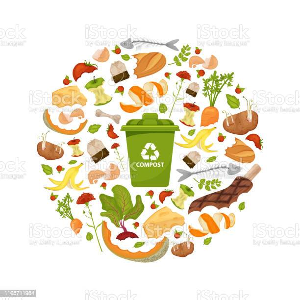 Round Template Organic Waste Theme Stock Illustration - Download Image Now