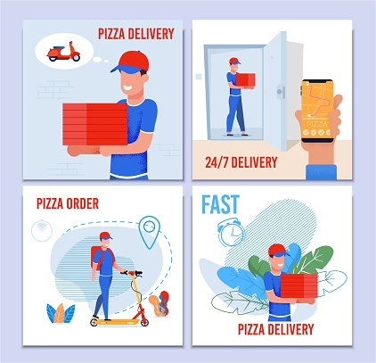 Round the Clock Pizza Fast Delivery Service Set