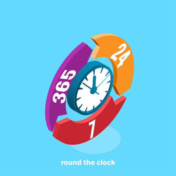 round the clock - call center stock illustrations